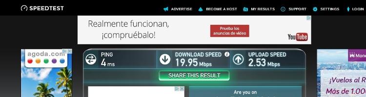 Internet Speed Test At Apartment Las Corralas de Servet, Madrid