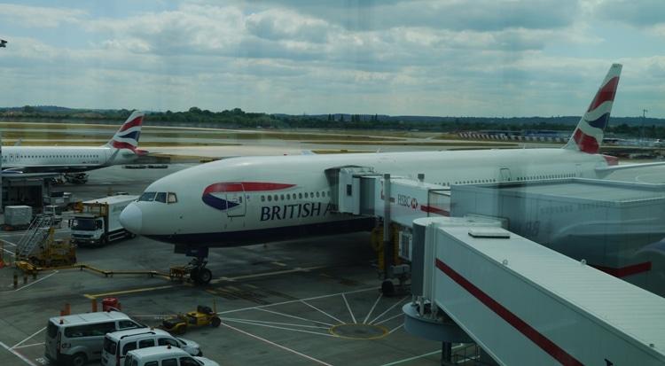 Our London To Bangkok Plane Waiting At Heathrow Terminal 5