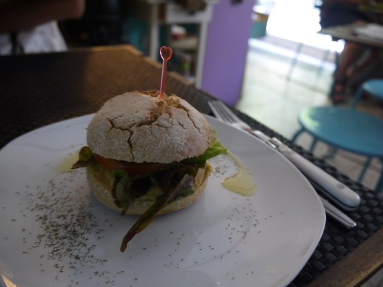 Hummus Sandwich With Lettuce & Tomato At Cafe el Mar, Lavapies, Madrid