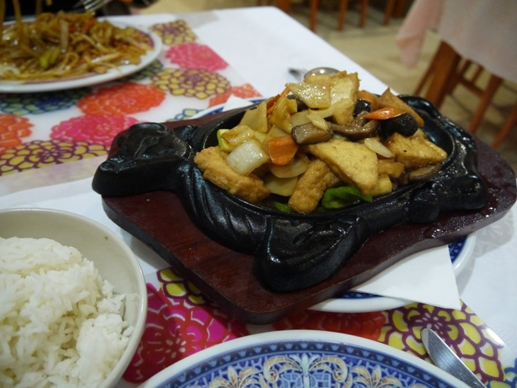 Sizzling Tofu On Iron Plate At Ciudad Dong Hai Chinese Restaurant, Seville