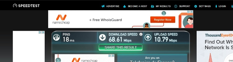 Internet Speed Test At Hotel Venecia, Seville, Andalusia, Spain