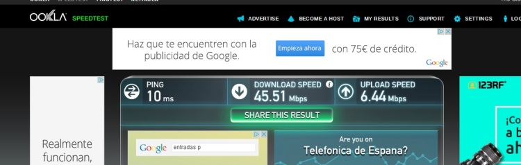 Internet Speed Test At Monica's Place, Gracia, Barcelona