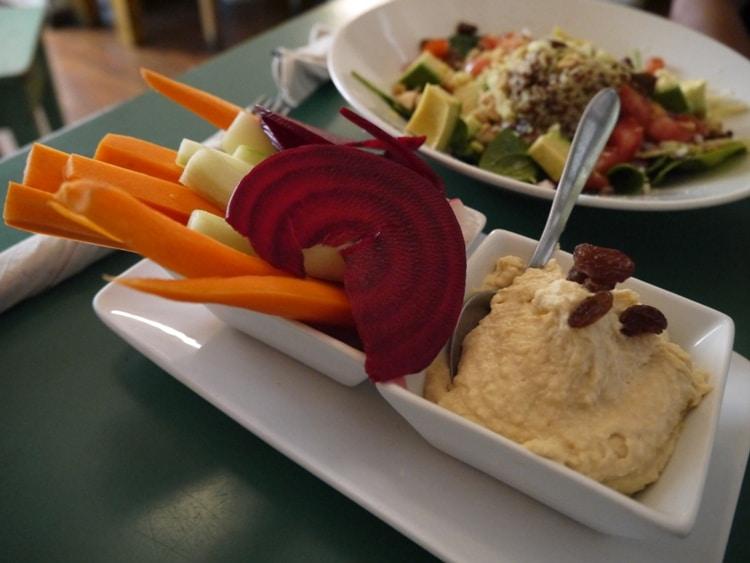 Hummus With Raw Vegetables At Quinoa Bar Vegetaria, Gracia, Barcelona