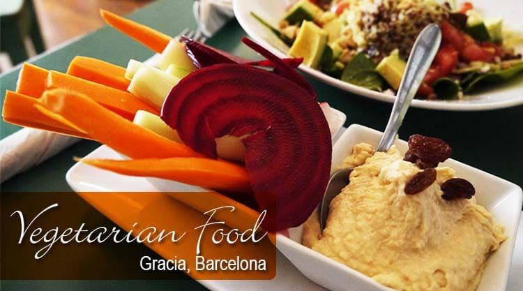 Vegetarian Food In Gracia, Barcelona, Spain