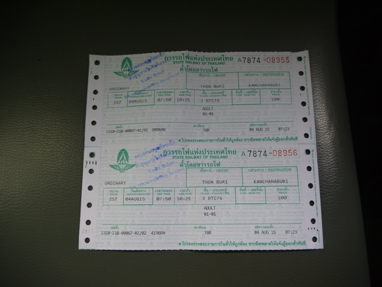Bangkok Thonburi To Kanchanaburi Train Tickets