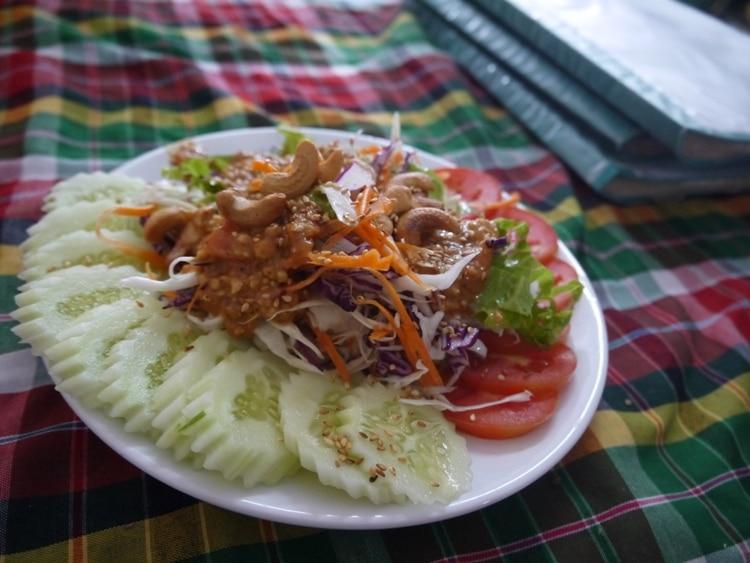 Salad With Spicy Satay Sauce At On's Thai Isaan Vegetarian Restaurant, Kanchanaburi