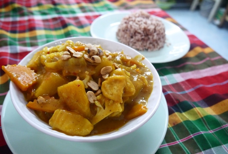Vegetarian Massaman Curry At Kanchanaburi Veggie Cookery Class