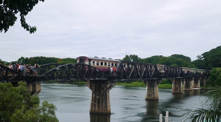 Our Train Crossing The River Kwai Bridge In Kanchanaburi