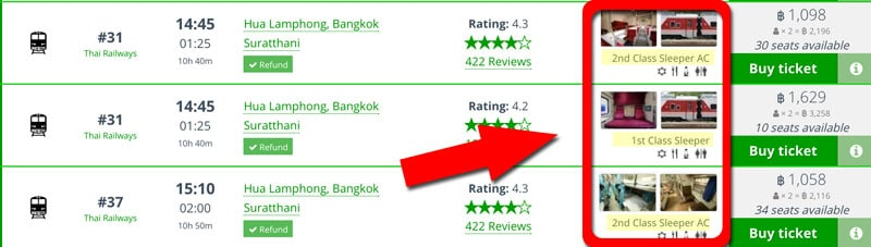 Choose your class when booking Thailand train tickets online