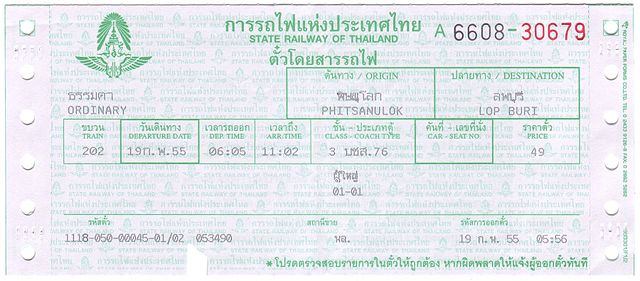 Thailand train ticket