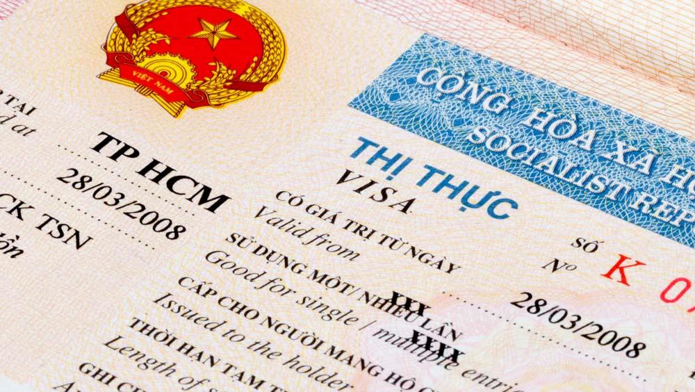 Vietnam visa in a passport